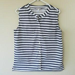 🔆GAP Gray & White Stripe Sleeveless Shirt